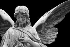 Angel statue on graveyard Royalty Free Stock Photos