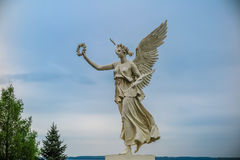 Angel statue of justice in Rostock, Germany. Marble sculpture of the angel of justice located in Rostock, Germany stock photo