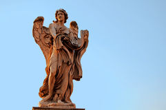 Angel Statue in Rome. Angel Statue on the Bridge leading to Castello Sant'Angelo in Rome Royalty Free Stock Photos