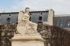 Angel statue at Triumphal Arch Arc de Triomphe du Carrousel at Tuileries. The monument was built between 1806 - 1808 to. Commemorate Napoleon`s military Stock Photo