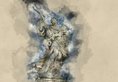 The Angel statues on Angels Bridge in Rome - Castel Sant Angelo. Illustration Royalty Free Stock Images