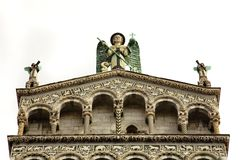 Angel Statues, Lucca Italy Cathedral Stock Photo