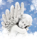 Angel in the sun. Blue white royalty free stock images