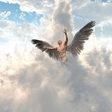Angel. Surrealism. Naked man with angel`s wings flies in cloudy sky. 3D render. This image created in entirety by me and is entirely owned by me and is entirely Royalty Free Stock Image