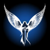 Angel with Sword. Against dark blue background. illustration in sketch style Stock Photos