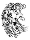 Angel with sword. An illustration of a warrior angel character or sports mascot  in a trojan or Spartan style helmet holding a sword Royalty Free Stock Photos