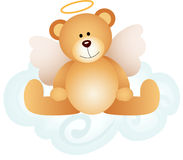 Angel teddy bear on cloud Royalty Free Stock Photo