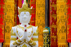 Angel In Thai Style. The angel statue in thai style at Wat Phra That Doi Tung ,Chiangrai ,Thailand Royalty Free Stock Image