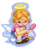 Angel toddler girl with big candy vector character sticker Stock Images