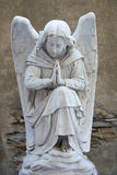 Angel on tombstone on old cemetery. Marble sculpture of angel on a tombstone Royalty Free Stock Image