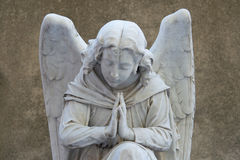 Angel on tombstone on old cemetery Royalty Free Stock Photo