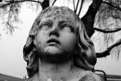 Angel Tombstone Sculpture, Black and White Close Up stock photos