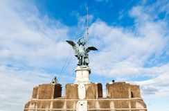 Angel on top of Castel Sant\'Angelo. Rome, Italy Royalty Free Stock Image