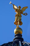 Angel on top of the Dresden Frauenkirche. The statue of the angel on top of the Dresden Frauenkirche (Church of Our Lady Stock Photos