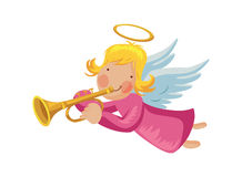 Angel with trumpet. And halo Stock Photo