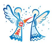 Angel with a trumpet and Angel with a star. Angel with a trumpet and Angel with a star in his hands. Simple  illustration of a free hand line Royalty Free Stock Photography