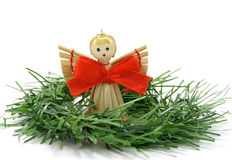 Angel on a twig. Christmas decoration - wooden angel with a twig Stock Photography