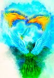 Angel and two phoenix and softly blurred watercolor background. Angel and two phoenix and softly blurred watercolor background Stock Photography