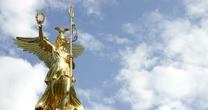 Angel On Victory Column Siegessaeule Berlin Tiergarten Park 4K Timelapse stock footage