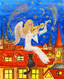 Angel with violin, painting Royalty Free Stock Photo
