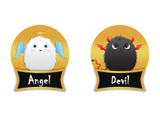 Angel vs devil furry creatures Royalty Free Stock Photography