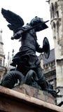 Angel Warrior. Statue on Marian Column, Marienplatz, Munich, Germany Stock Photography