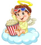 Angel watching movie. Little baby angle watching movie, using red and blue 3d glasses, holding popcorn container Stock Images