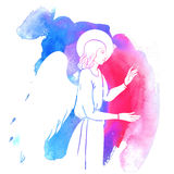 Angel at watercolor Royalty Free Stock Images