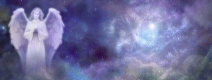 Angel Website Banner celestial Fotografia de Stock
