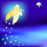 Angel welcomes the music star of the Magi- illustration Royalty Free Stock Photo