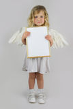 Angel with white blank board Stock Images