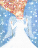 Angel in white clothes with foxy hair swinging in the blue sky with snowflakes. royalty free stock images