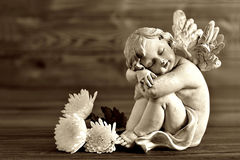 Angel and white flowers Stock Photos