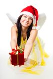Angel with white wings give present Stock Photos