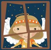 Angel in a window stock illustration