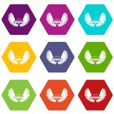 Angel wing icons set 9 vector. Angel wing icons 9 set coloful isolated on white for web Vector Illustration