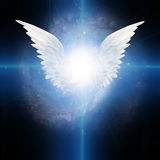 Angel winged. With Cross of Light Stock Image