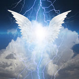 Angel winged. Surrounded by electric arcs Stock Photography
