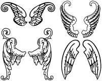 Angel Wings. Four Sets of Black and White Angel Wings Royalty Free Stock Photo