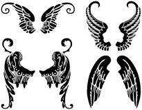 Angel Wings. Four Sets of Black Angel Wings Stock Photography