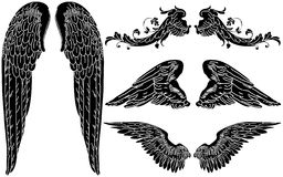 Angel Wings. Four Sets of Detailed Angel Wings Stock Photo