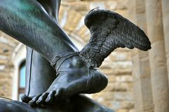 Angel wings of a statue in Florence , Italy stock images