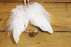 Angel wings. Pair of white angel wings attached on a wooden wall stock photos