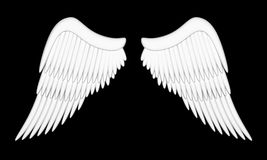 Angel wings. Illustration of wings of an angel on a black background Stock Images