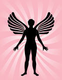 Angel with wings. On a pink swirly background Royalty Free Stock Photo