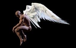 Angel Wings, asa branca com trajeto de grampeamento ilustração stock