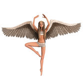 Angel with wings in ballet pose. Female angel with wings in ballet dance pose illustration Royalty Free Stock Photos
