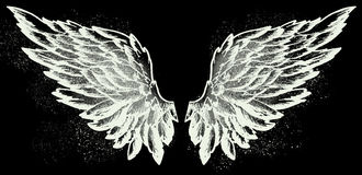 Angel wings on black. Hand drawn sketch of a pair of white angel wings royalty free illustration