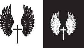 Angel wings and cross Royalty Free Stock Photo