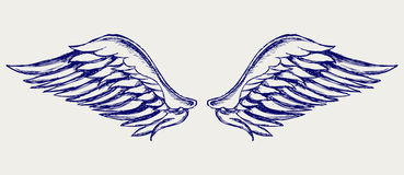 Angel wings. Doodle style Royalty Free Stock Photo